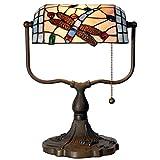 """Lumilamp 5LL-1144 Tischlampe Bankerlampe im Tiffany Stil """"Banker Dragonfly"""" 27x35cm"""