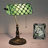Tiffany Bankers Schreibtischlampe Vintage Glasmalerei Tischlampe für Büro & Zuhause TBD-002 Grün/Blau/Gelb,Green