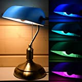 RETRO Tisch Lampe Lese Banker Stil Kanzlei Glas Lampe DIMMBAR im Set inkl. RGB LED Leuchtmittel